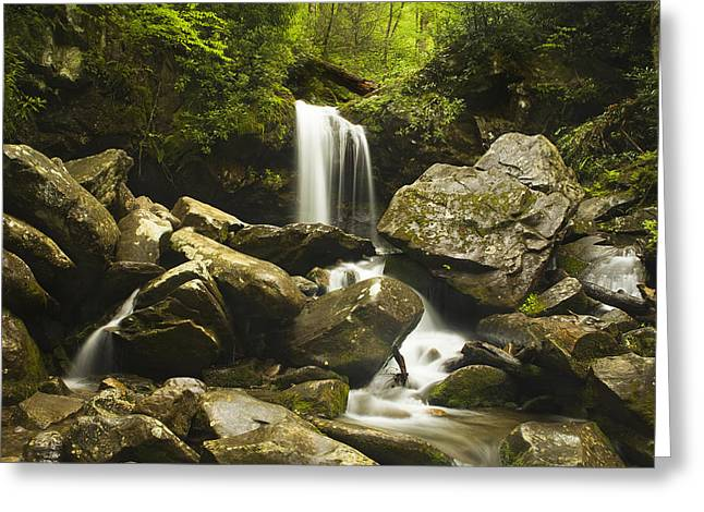 Tennessee River Greeting Cards - Smoky Mountain Waterfall Greeting Card by Andrew Soundarajan