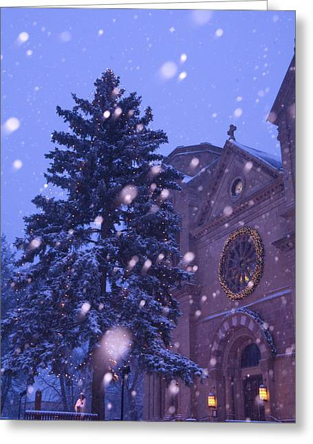 St. Francis Day Greeting Cards - Snow Falls On A City Scene Greeting Card by Ralph Lee Hopkins