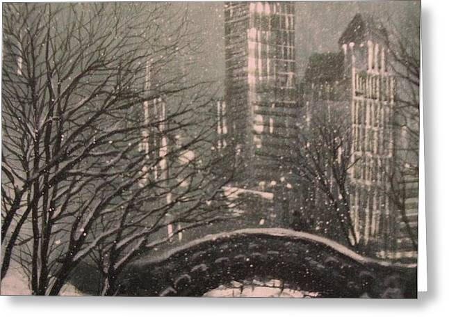 Snow in Central Park Greeting Card by Tom Shropshire