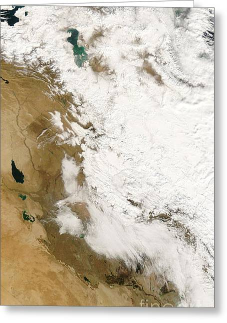 Iraq Greeting Cards - Snow In Iraq Greeting Card by Nasa