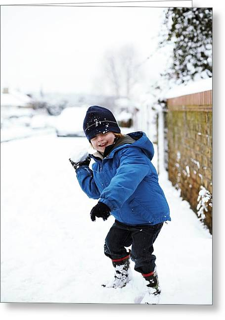 Snowball Fight Greeting Cards - Snowball Fight Greeting Card by Ian Boddy