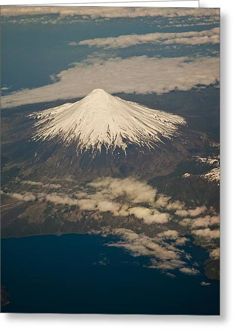 Snowcovered Volcano Andes Chile Greeting Card by Colin Monteath