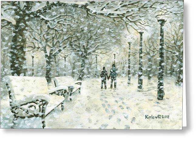 Snowy Evening Greeting Cards - Snowing in the Park Greeting Card by Kalen Malueg