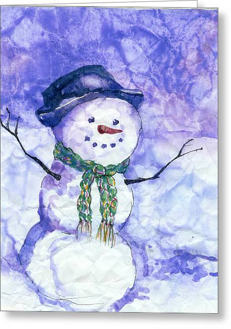 Snowman. Greeting Cards - Snowman Greeting Card by Peggy Wilson