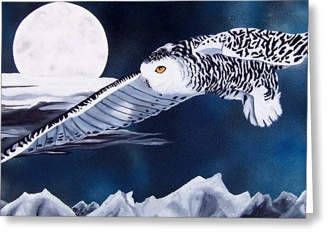 Snowy Flight Greeting Card by Debbie LaFrance