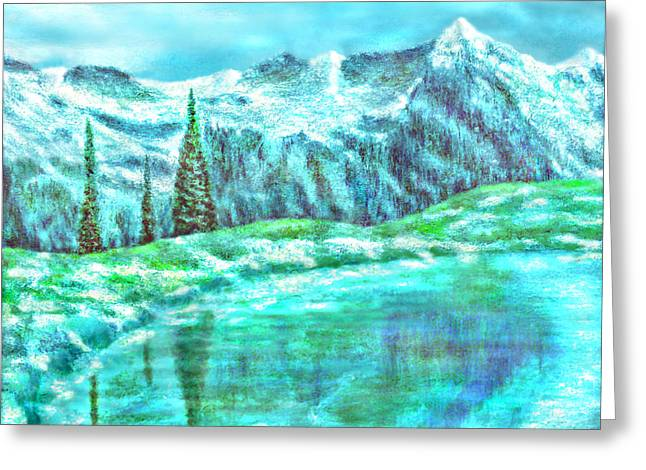 Big Chill Greeting Cards - Snowy Mountain Reflections Greeting Card by Ronald Haber