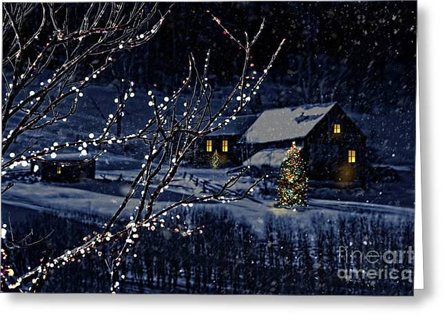 Winter Scenes Rural Scenes Photographs Greeting Cards - Snowy winter scene of a cabin in distance  Greeting Card by Sandra Cunningham