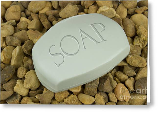 Soap Bar On Stones Background Greeting Card by Blink Images
