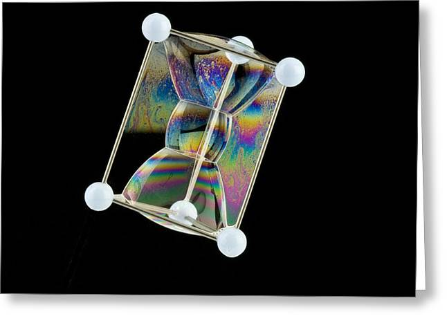 Surface Tension Greeting Cards - Soap Bubbles On A Triangular Prism Frame Greeting Card by Paul Rapson