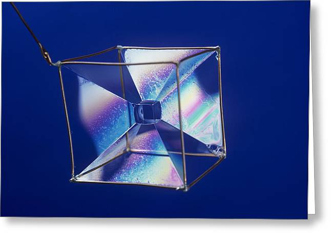 Soap Films On A Cube Greeting Card by Andrew Lambert Photography