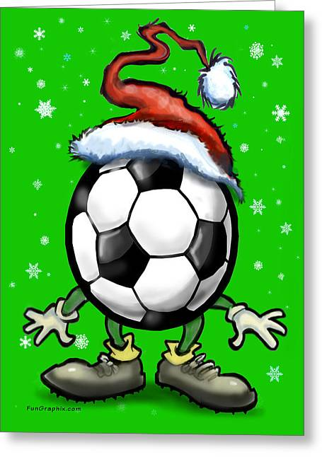 Humorous Greeting Cards - Soccer Christmas Greeting Card by Kevin Middleton