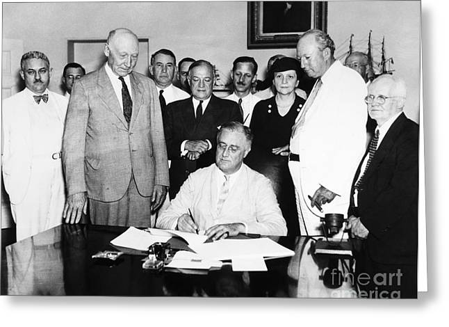 Barkley Greeting Cards - Social Security Act, 1935 Greeting Card by Granger