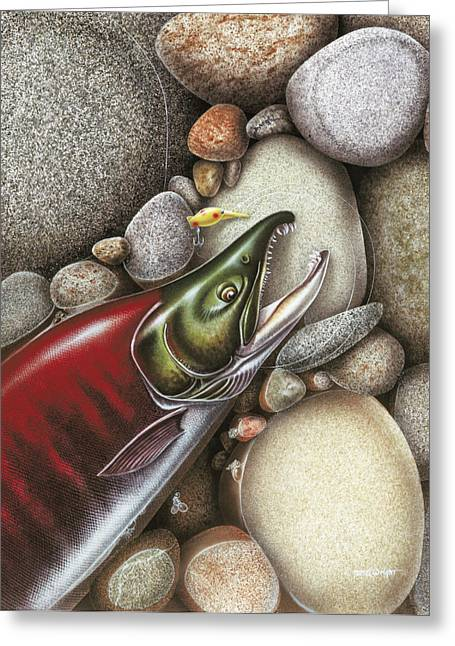 Spawning Greeting Cards - Sockeye Salmon Greeting Card by JQ Licensing