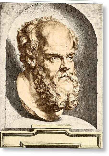 Taught Greeting Cards - Socrates, Greek-athenian Philosopher Greeting Card by Science Source