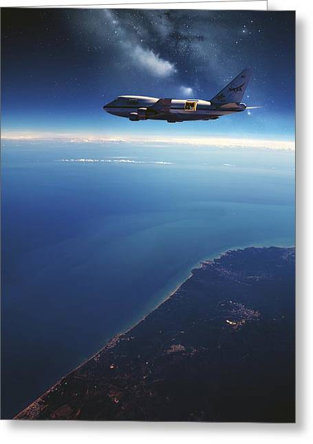 High Altitude Flying Greeting Cards - Sofia Airborne Observatory In Flight Greeting Card by Detlev Van Ravenswaay