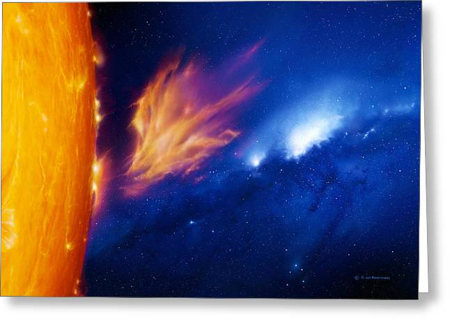 Ejection Greeting Cards - Solar Flare Greeting Card by Detlev Van Ravenswaay