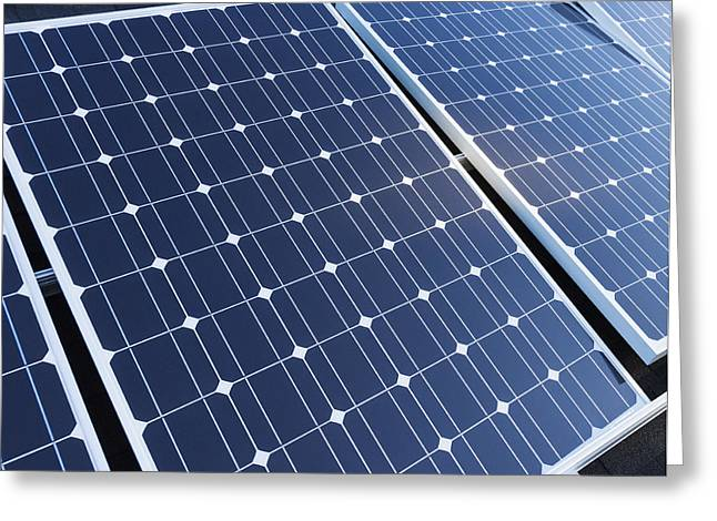 Residential Structure Greeting Cards - Solar Panels Fixed On The Rooftop Greeting Card by Don Mason