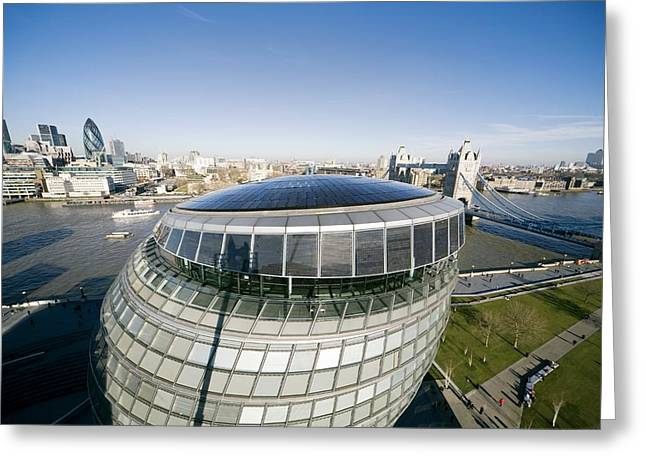 City Hall Greeting Cards - Solar Panels On City Hall, London, Uk Greeting Card by Paul Rapson