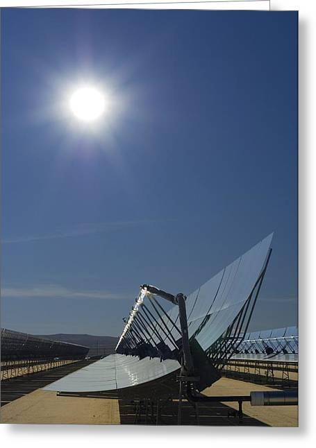 Solar Power Greeting Cards - Solar Parabolic Mirror, California, Usa Greeting Card by David Nunuk