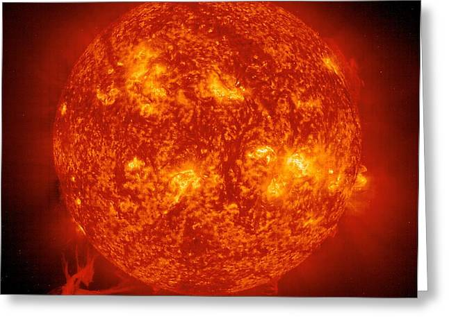 Helium Greeting Cards - Solar Prominence, Soho Image Greeting Card by Solar & Heliospheric Observatory consortium (ESA & NASA)