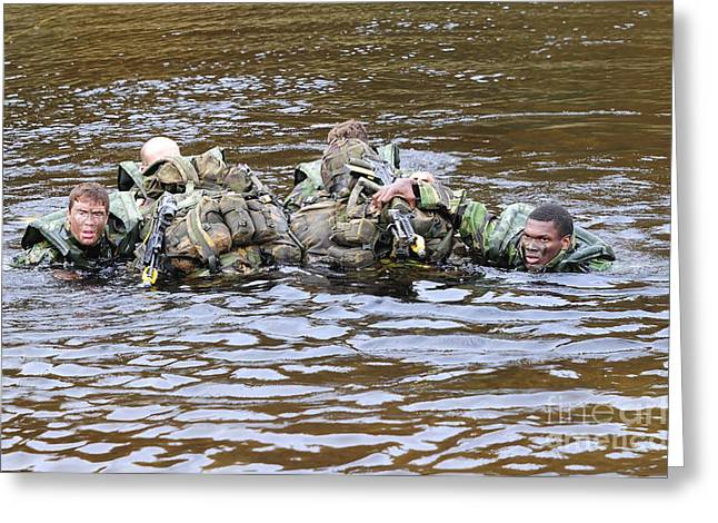 Shoulder Bag Greeting Cards - Soldiers Participate In A River Greeting Card by Andrew Chittock
