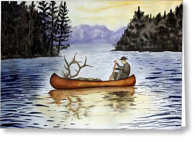 Canoe Drawings Greeting Cards - Solitude Greeting Card by Jimmy Smith