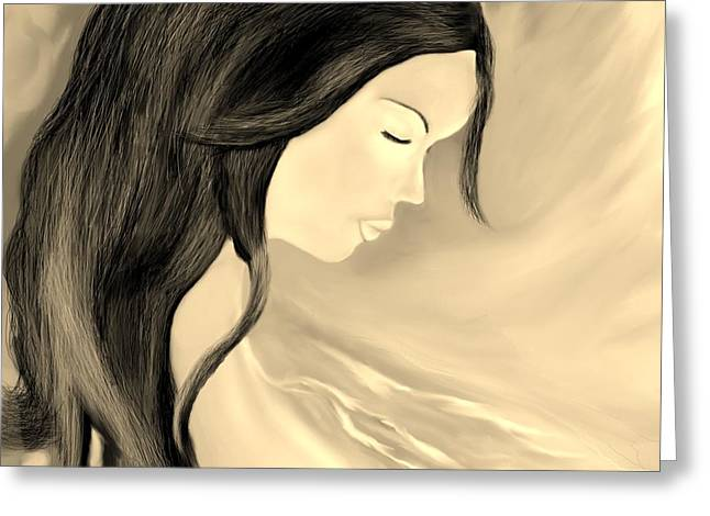 Floating Girl Greeting Cards - Solitude  Greeting Card by Lori  Lovetere
