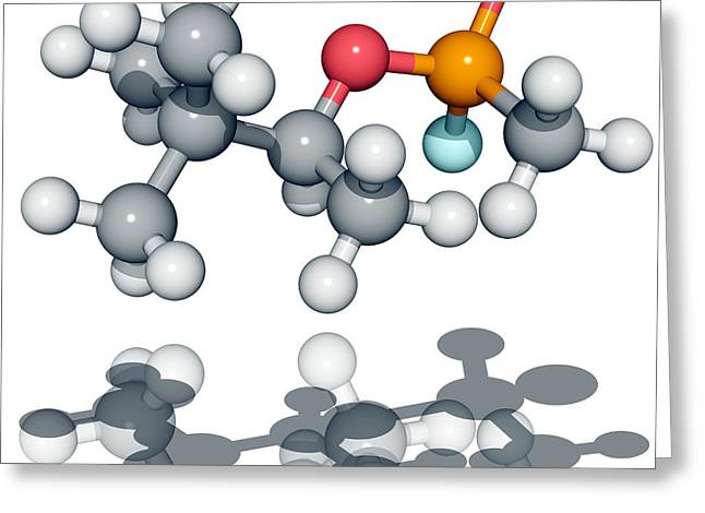 Chemical Compound Greeting Cards - Soman Nerve Agent Molecule Greeting Card by Laguna Design