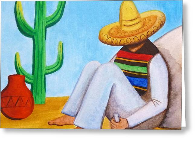 Poncho Paintings Greeting Cards - Sombrero Greeting Card by Lucy Deane