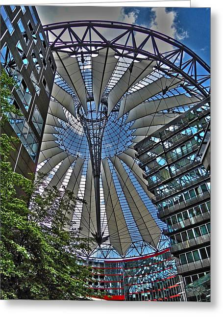 Spiegelung Greeting Cards - Sony Center - Berlin Greeting Card by Juergen Weiss