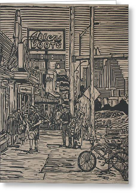 Lino Drawings Greeting Cards - South Congress Greeting Card by William Cauthern