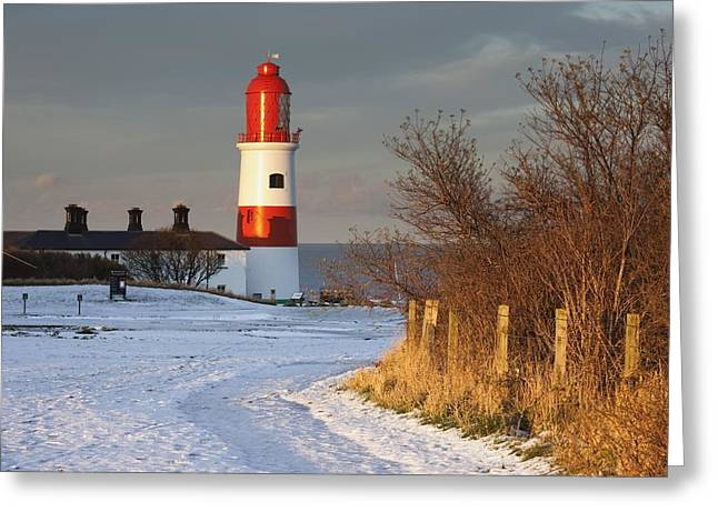 Snow. Ocean Greeting Cards - South Shields, Tyne And Wear, England A Greeting Card by John Short