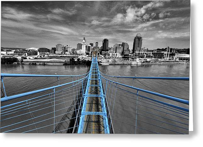 Downtown Greeting Cards - South Tower - Selective Color Greeting Card by Russell Todd