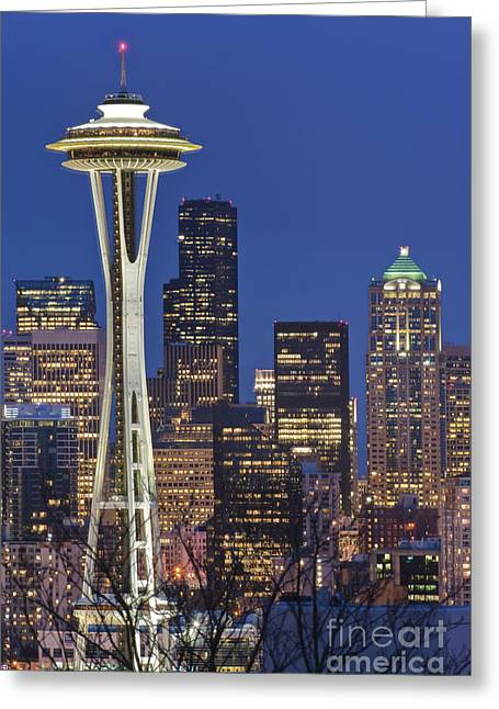 Wa Greeting Cards - Space Needle and Downtown Seattle Skyline Greeting Card by Rob Tilley