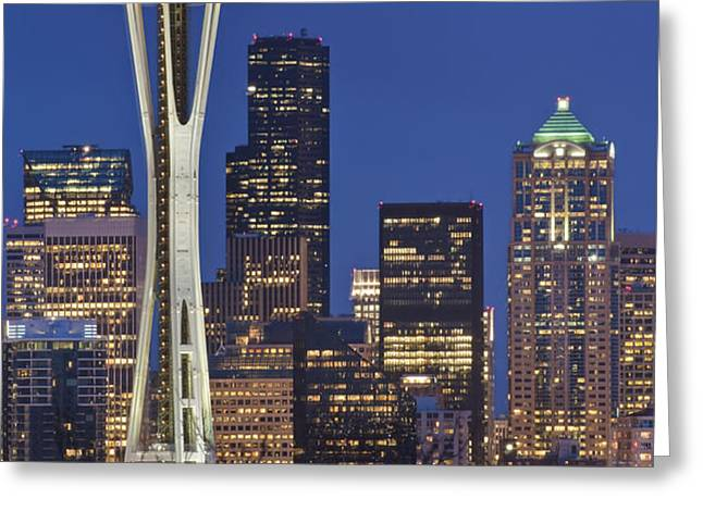 Space Needle and Downtown Seattle Skyline Greeting Card by ROB TILLEY