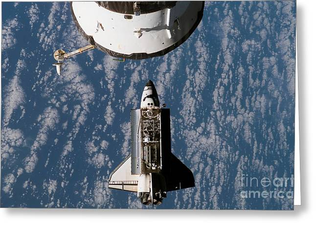 Space Shuttle Atlantis Approaching Greeting Card by Stocktrek Images