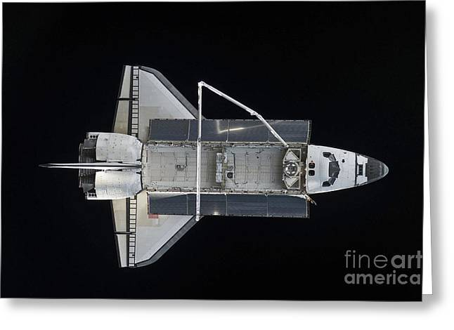 Space Shuttle Atlantis Backdropped Greeting Card by Stocktrek Images