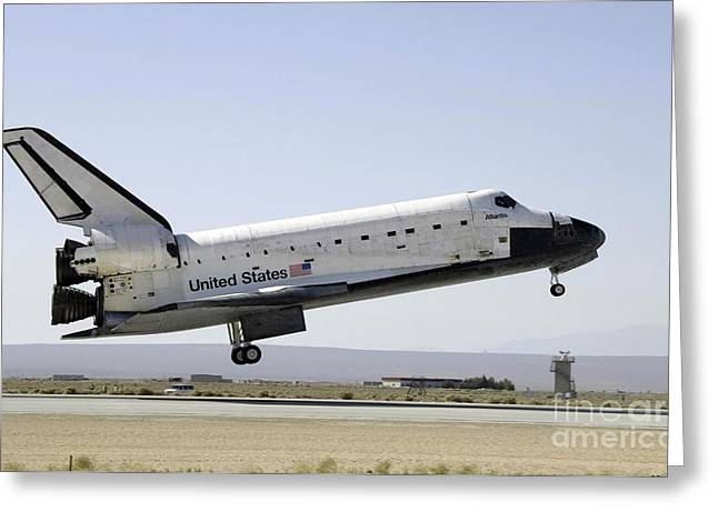 Atlantis Greeting Cards - Space Shuttle Atlantis Prepares Greeting Card by Stocktrek Images