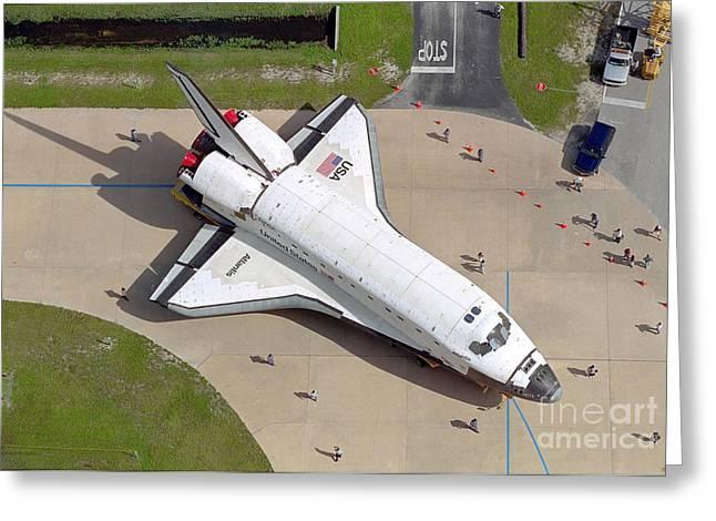 Atlantis Greeting Cards - Space Shuttle Atlantis Greeting Card by Stocktrek Images