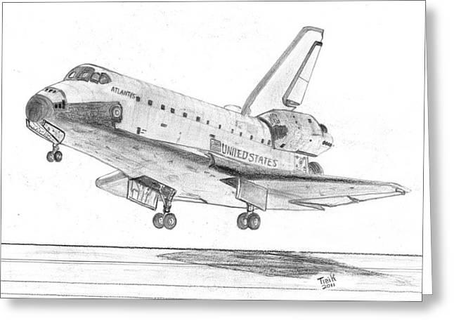 Atlantis Drawings Greeting Cards - Space Shuttle Atlantis Greeting Card by Tibi K