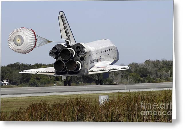 Braking Greeting Cards - Space Shuttle Atlantis Unfurls Its Drag Greeting Card by Stocktrek Images