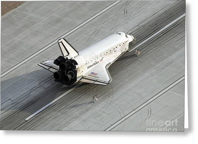 Spaceport Greeting Cards - Space Shuttle Discovery On The Runway Greeting Card by Stocktrek Images