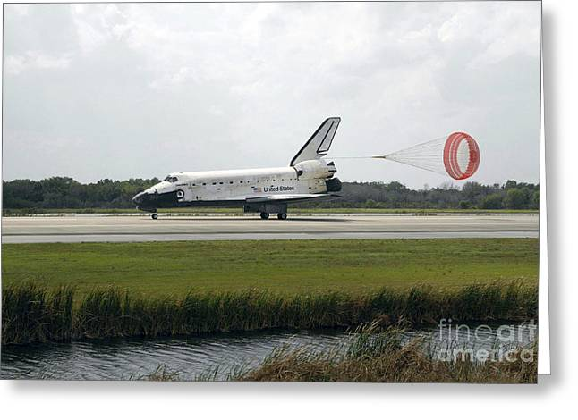 Braking Greeting Cards - Space Shuttle Discoverys Drag Chute Greeting Card by Stocktrek Images