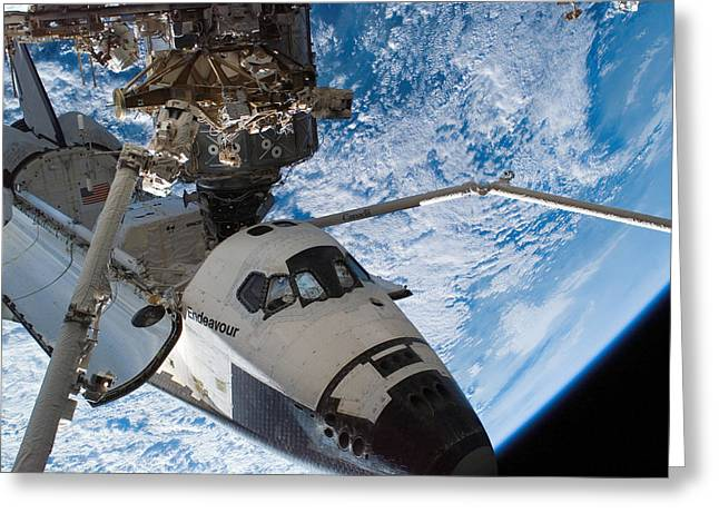 Destiny Greeting Cards - Space Shuttle Endeavour, Docked Greeting Card by Stocktrek Images