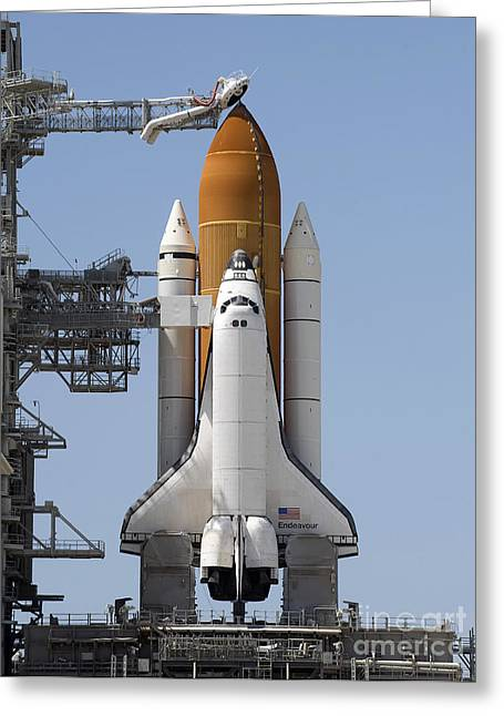 Space Shuttle Endeavour Sits Ready Greeting Card by Stocktrek Images