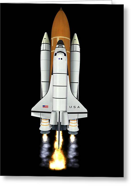 Rocket Boosters Greeting Cards - Space Shuttle Launch, Computer Artwork Greeting Card by Friedrich Saurer