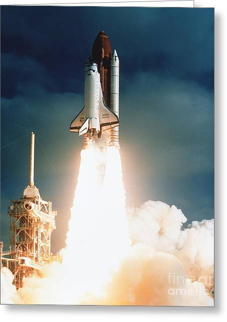 Lifted Greeting Cards - Space Shuttle Launch Greeting Card by NASA / Science Source