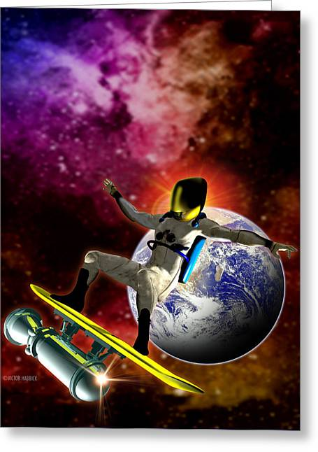 Spacesuit Greeting Cards - Space Surfer Greeting Card by Victor Habbick Visions