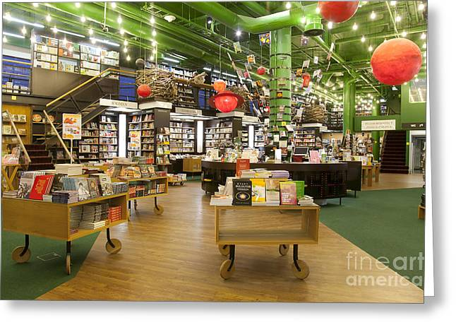 Spacious Bookstore Interior Greeting Card by Jaak Nilson