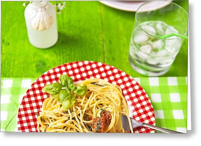 Spaghetti al pesto Greeting Card by Joana Kruse